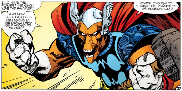 Beta Ray Bill uses Mjölnir to transform into Thor for the first time.