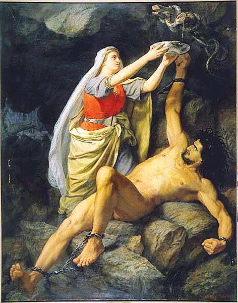 Loki and Sigyn (1863) by Mårten Eskil Winge
